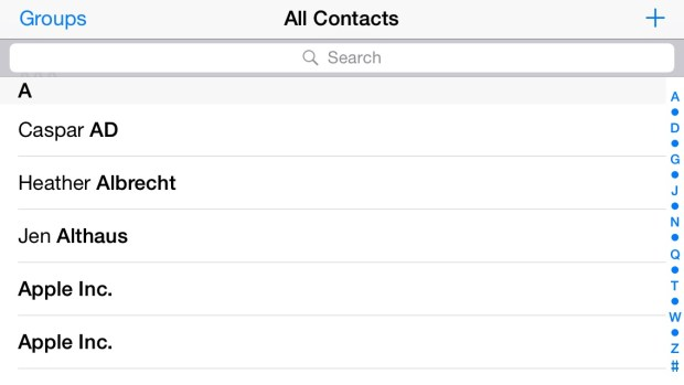 Contacts on an iPhone 5s running iOS 8.