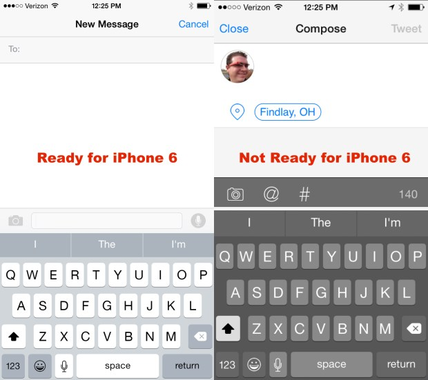 This shows one of the temporary problems with iPhone 6 apps so far.
