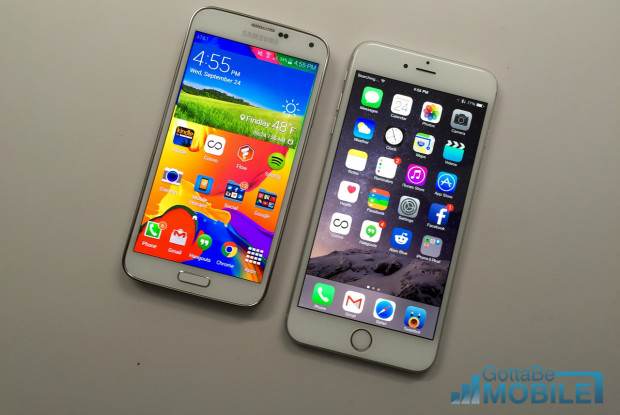 The iPhone 6 Plus and Galaxy S5 displays are both very nice.
