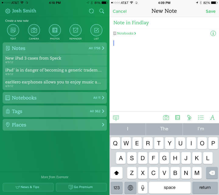 Evernote is a great looking iPhone 6 Plus app.