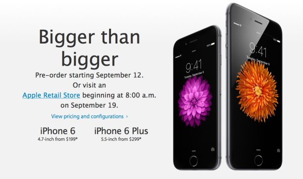 iPhone 6 and iPhone 6 Plus pre-orders start this week.