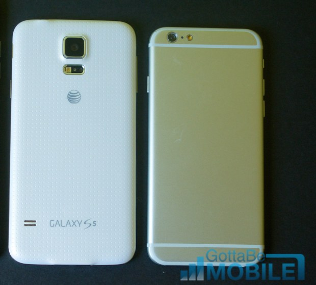 The iPhone 6 vs Galaxy S5 size comparison shows a similar overall size.
