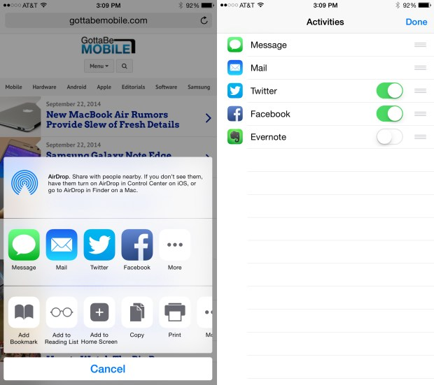 Customize the iOS 8 sharing options.