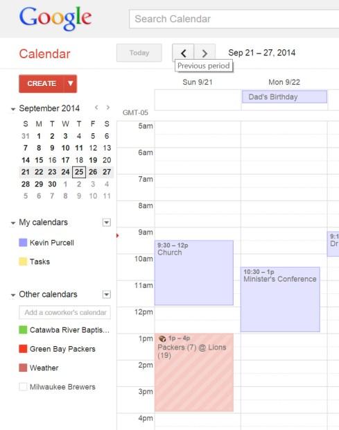 packers calendar on google calendar