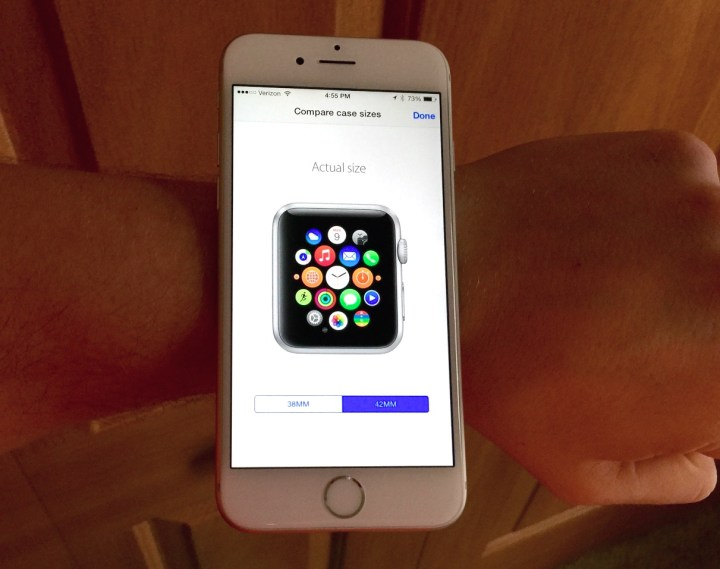 Use the iPhone app to see the Apple Watch sizes on your wrist.