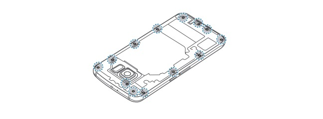 Remove 13 screws from the Galaxy S6.