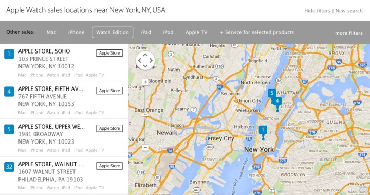 Use the location tool to find where Apple Watches are on sale  and where you can try them on.