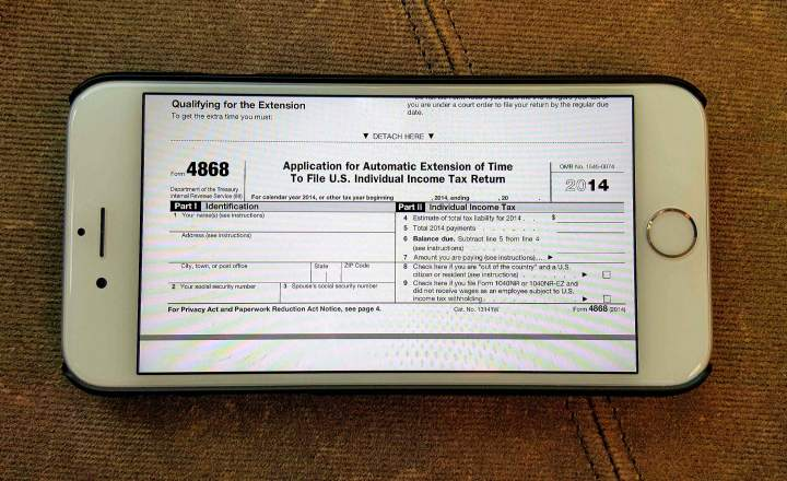 how to file a 2016 tax extension (irs form 4868) on iphone, ipad or