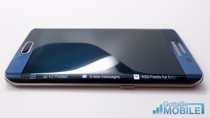 See notifications and more on the Galaxy S6 Edge display.