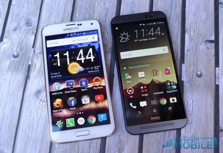 This is the One M9 sitting next to the 5.1-inch Galaxy S5