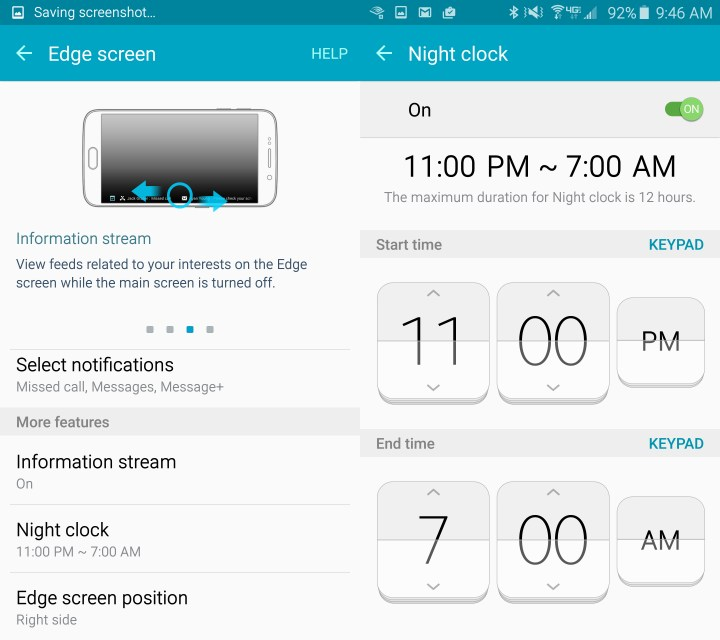 Change the Galaxy S6 Edge side and turn on a night clock option.