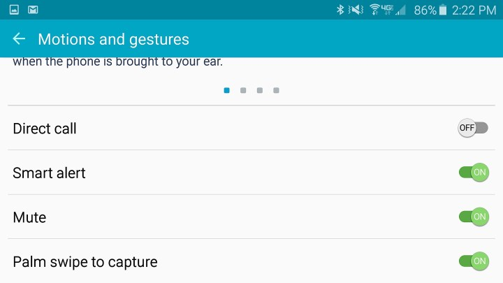 Control the Galaxy S6 motions and gestures.