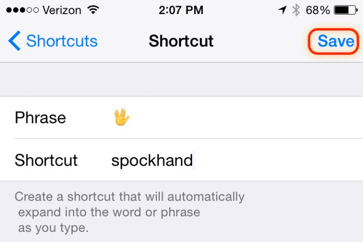 Save your Spock emoji shortcut so you can use it anytime you want.