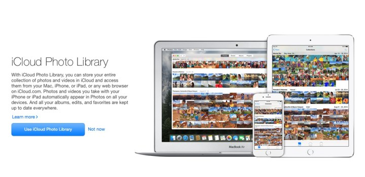 You can turn on iCloud Photo Library or you can do this later.