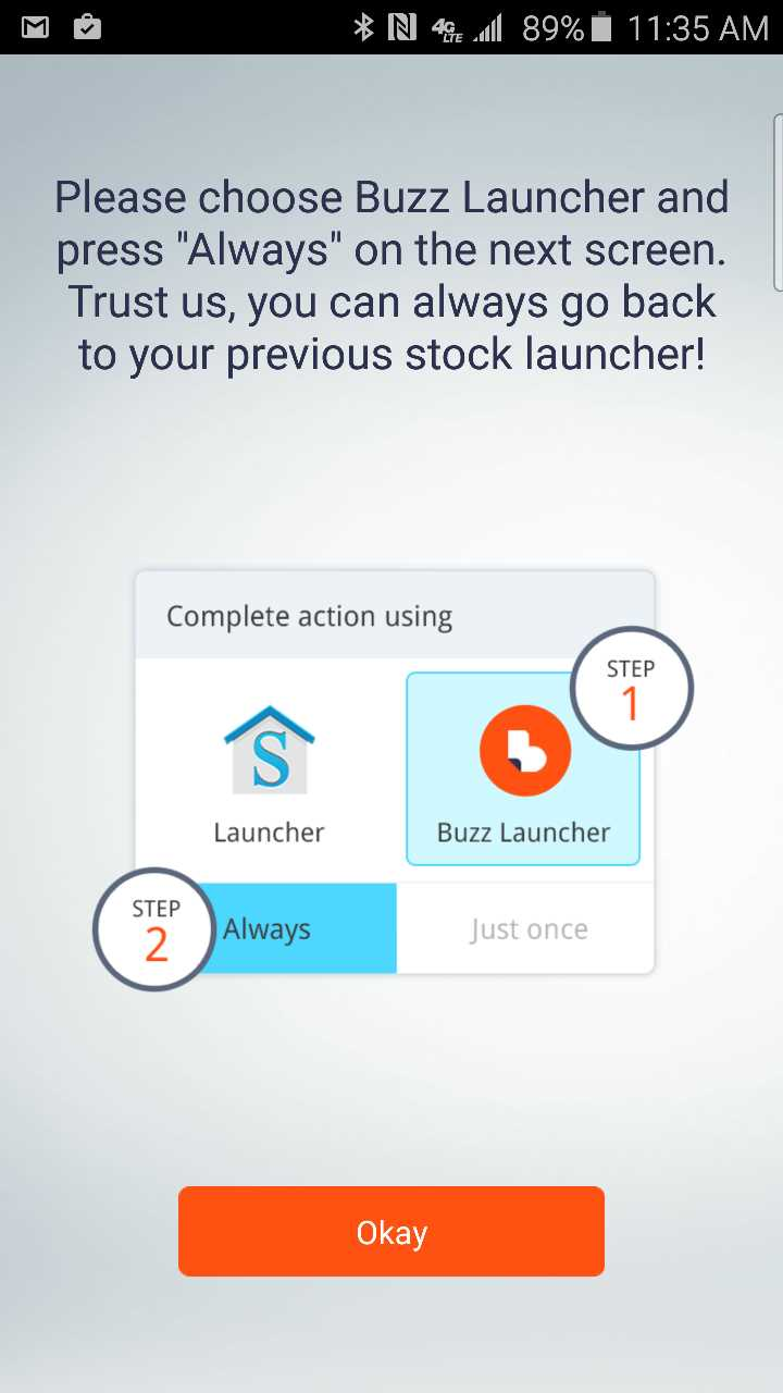 launcher selection help screen