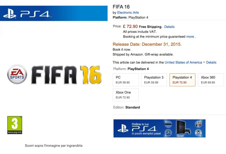 FIFA 16 Consoles and PC