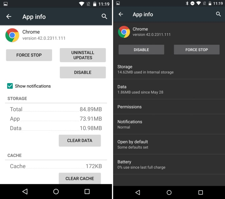 Android 5.1 vs Android M - Apps Info