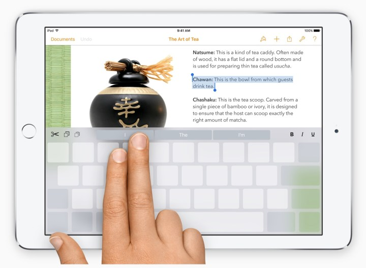 The iPad keyboard is also a touchpad on iOS 9.