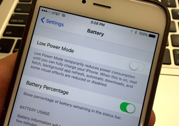 The new Low Power Mode can deliver three more hours of iPhone battery life.