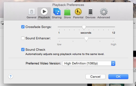 Above: iTunes' Playback settings
