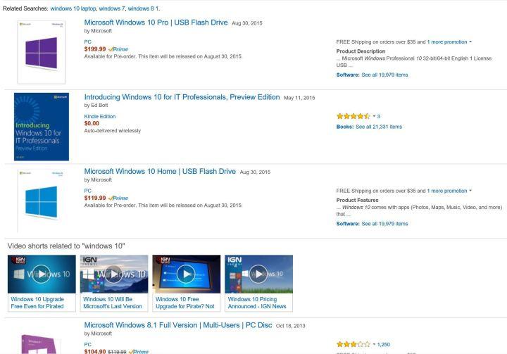 Windows 10 at Amazon