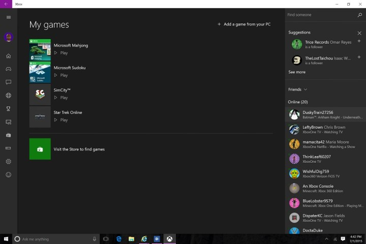 Xbox on Windows 10 Update