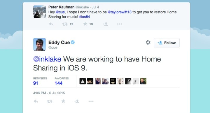 Home Sharing is Missing on iOS 8.4