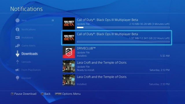 Monitor your PS4 Call of Duty: Black Ops 3 beta download progress.