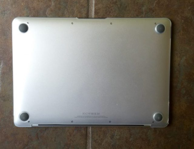 The bottom protects your MacBook and there are feet to keep the bottom off rough surfaces.
