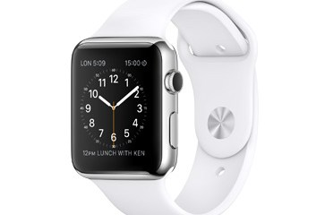 An Apple Watch in stainless steel with a White Sport Band.