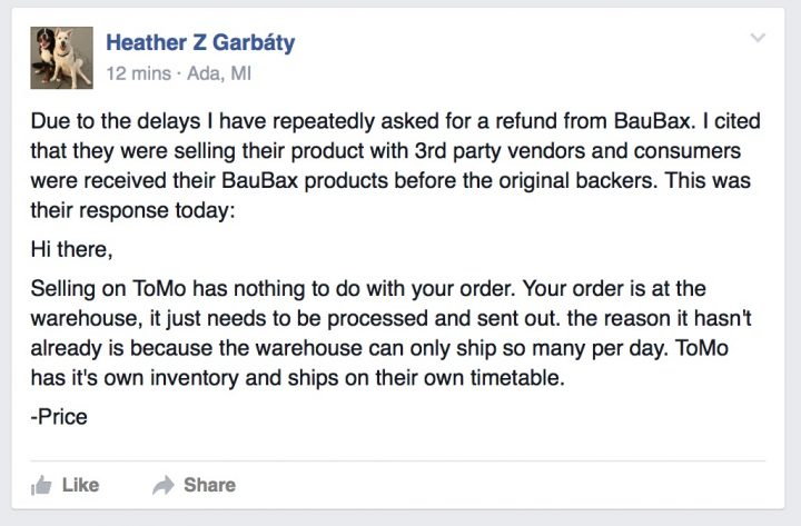 A discussion on the BauBax Reviews Facebook group