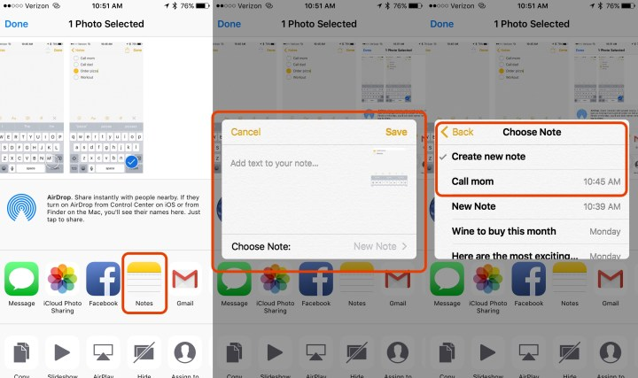 Add photos and links to notes on iOS 9.