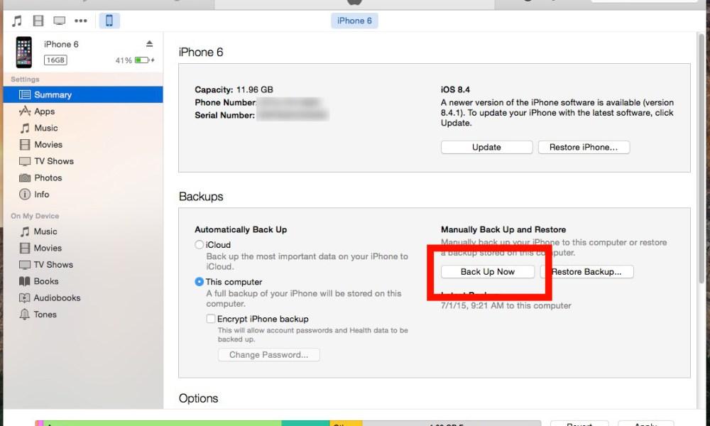 manually backup iphone 8