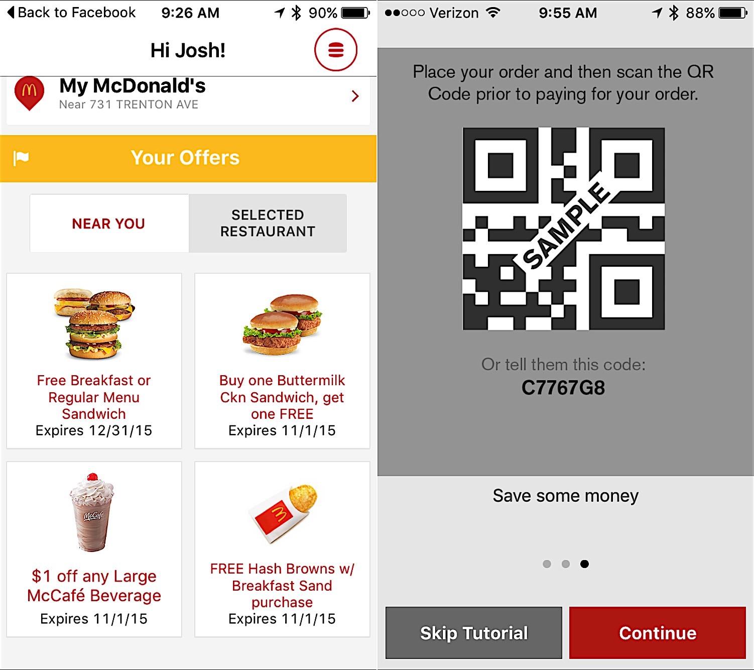 Free mcdonalds coupons app
