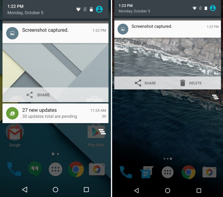 Android 5.1 vs Android 6: Delete Screenshot