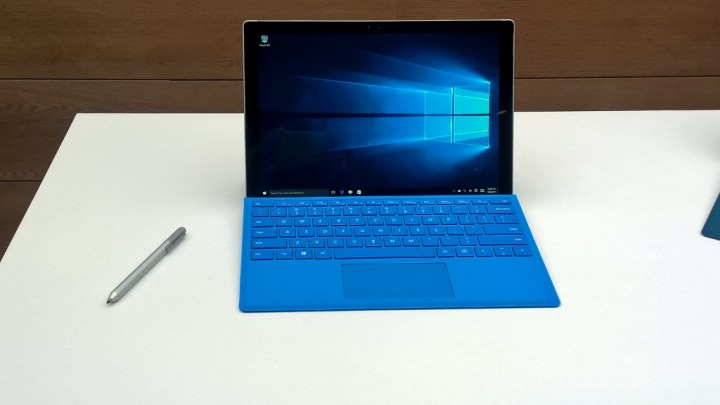 The Surface Pro 4 with pen and type cover.