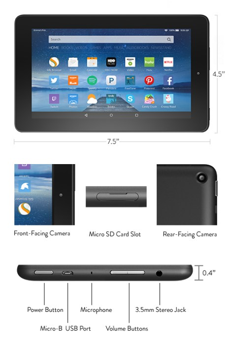 New Kindle Fire 7 specs and size.