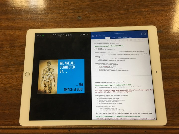 ipad pro on lectern with word and keynote side by side