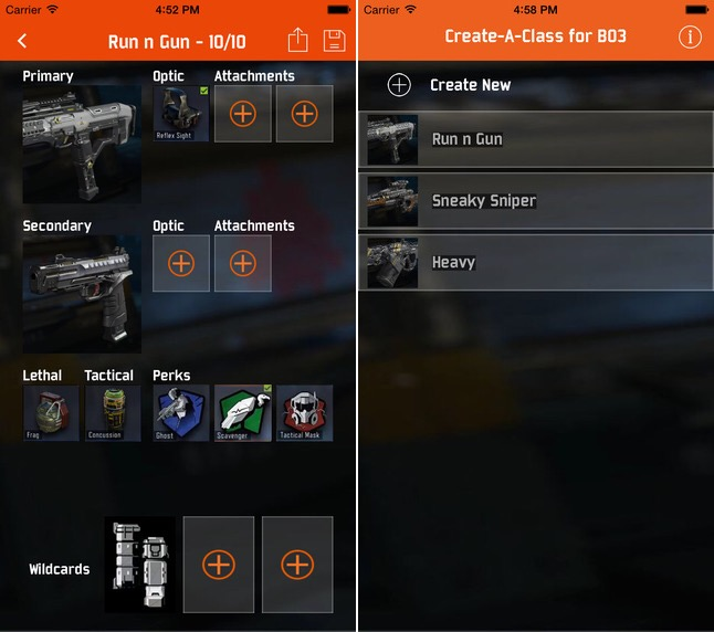 Create a Class with this Black Ops 3 app.