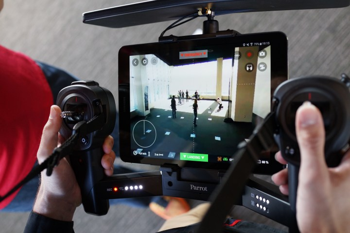 The optional Skycontroller Black Edition pairs with an Android tablet or iPad for enhanced Bebop 2 flights