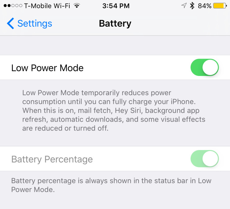 iphone 6s plus low power mode settings