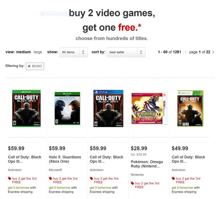 target buy 2 get 1 free
