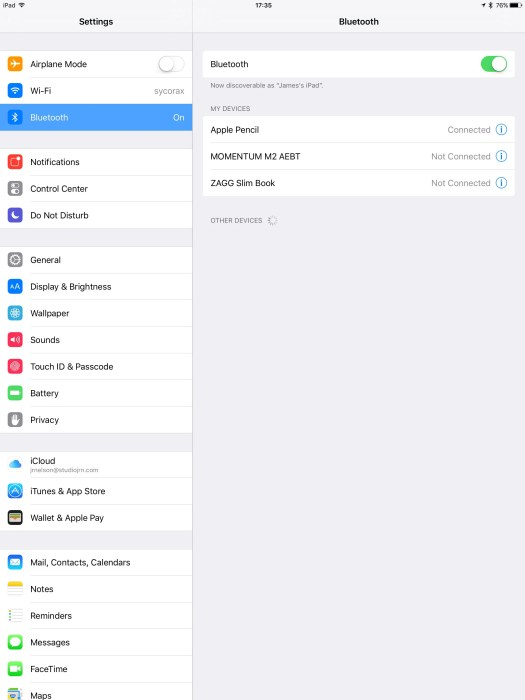 Apple-iPad-Pro-Bluetooth-settings