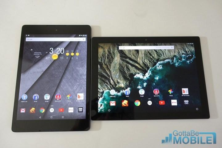Nexus 9 (left) vs Pixel C (right)