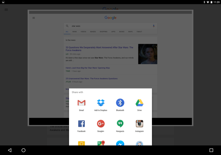 Screenshot share feature with Google Now on Tap