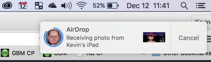 airdrop received on mac