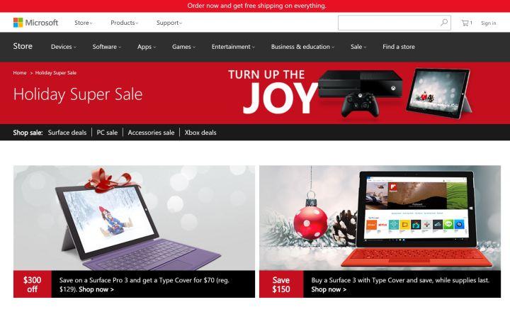 microsoft store holiday super sale