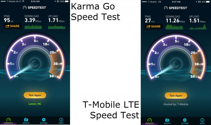 Karma Go vs T Mobile Speed Test