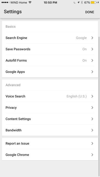 Chrome iOS settings screen