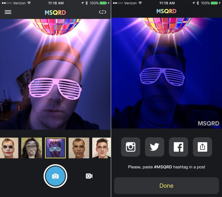 How to use the MSQRD app to add a selfie mask to your photos and videos.